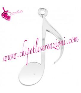 Ciondolo Nota Musicale 80x40 mm Plexiglass Specchiato Argento