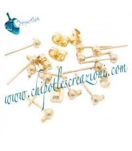 Perni per Orecchino Pallina con Retro colore Oro (1 paio)
