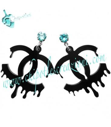 Orecchini Logo Colato Nero con Swarovski Light Turquoise