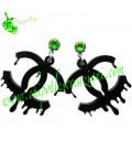 Orecchini Logo Colato Nero con Swarovski Fern Green