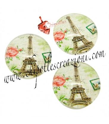 Cabochon Tondo Orologio con Torre Eiffel 16 mm Vetro