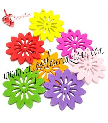 Ciondolo Fiore Intagliato 40x40 mm Legno Vari Colori