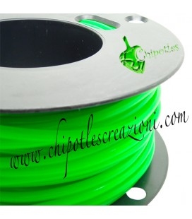 Cordoncino PVC Verde Fluo 4 mm Forato (1 metro)