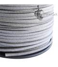 Cordoncino Simil Suede Alcantara 3x1,5 mm Argento