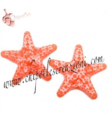 Perla Stella Marina Resina 31x33 mm color Corallo Effetto Ghiaccio