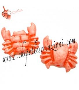 Perla Granchio Resina 27x29 mm color Corallo Effetto Ghiaccio