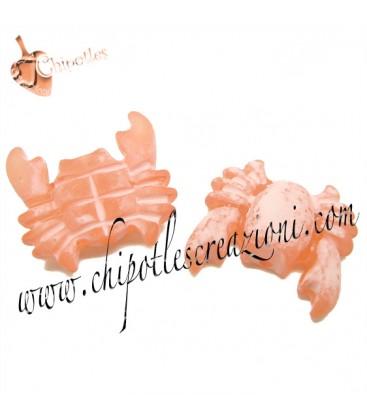 Perla Granchio Resina 27x29 mm color Rosa Corallo Effetto Ghiaccio