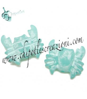 Perla Granchio Resina 27x29 mm color Turchese Effetto Ghiaccio