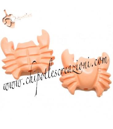 Perla Granchio Resina 27x29 mm color Rosa Corallo