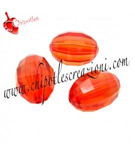 Perla Oliva Sfaccettata 14x10 mm Rosso Arancio