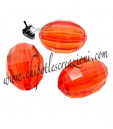 Perla Oliva Sfaccettata 25x18 mm Rosso Arancio