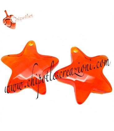 Ciondolo Stella Sfaccettata 36x37x10 mm Arancio Resina
