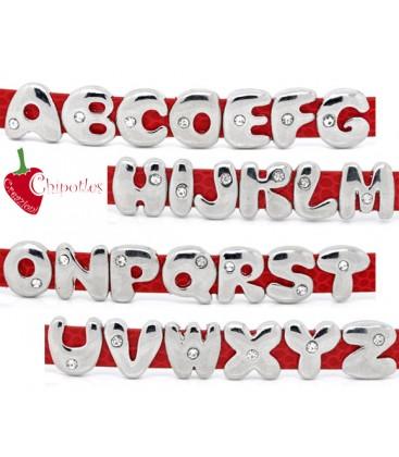 Perla Lettera Alfabeto con uno Strass per Cinturino (foro piatto)