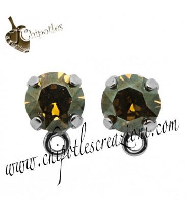 Base Orecchini a Perno con Swarovski Crystal Bronze Shade SS39