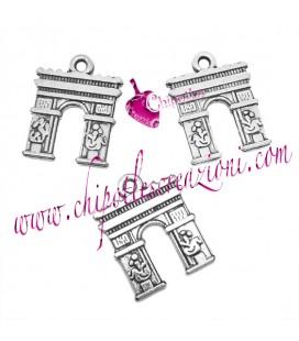 Ciondolo Arco di Trionfo Parigi 18x14 mm color Argento Antico