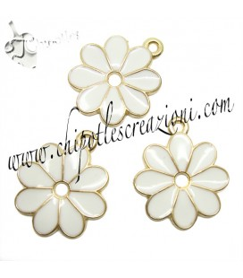 Ciondolo Fiore Smaltato 22x19 mm color Oro