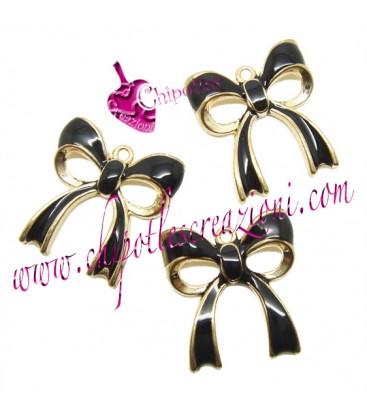 Ciondolo Fiocco Nero 20x18 mm color Oro