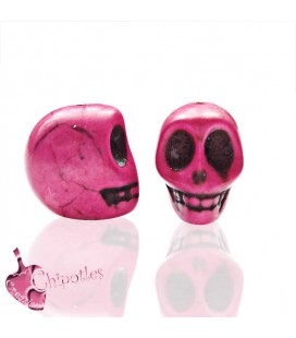 Perla Teschio 3D 18x14 mm colore Fucsia