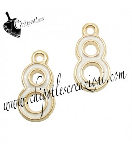 Ciondolo Numero Otto Infinito Smaltato 15x8 mm color Oro