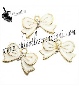 Ciondolo Fiocco Bianco con Strass 21x13 mm color Oro