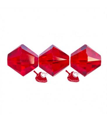 Biconi 6 mm Swarovski® 5328 Light Siam colore Rosso