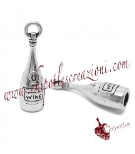 Ciondolo Bottiglia di Vino 27,5x8 mm color Argento Antico