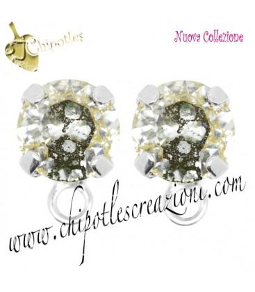 Base Orecchini a Perno con Swarovski Crystal Gold Patina SS39