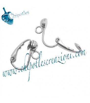 Clips con Mezza Sfera e anellino Ottone colore Acciaio