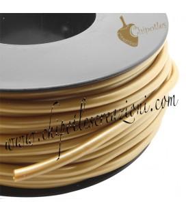 Cordoncino PVC Oro Sabbia Metallizzato 4 mm Forato (1 metro)