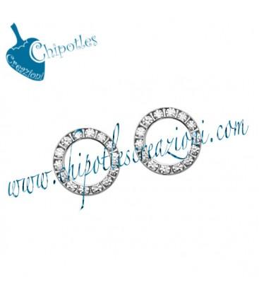 Anello Tondo con Strass 15 mm Ottone colore Acciaio