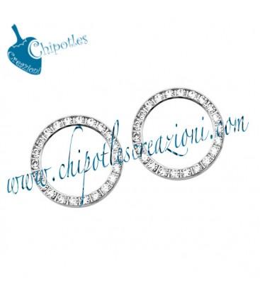 Anello Tondo con Strass 21 mm Ottone colore Acciaio