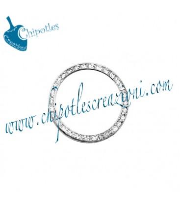 Anello Tondo con Strass 27 mm Ottone colore Acciaio