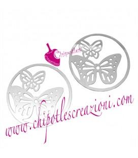 Ciondolo Filigrana Cerchio con Farfalle 20 mm Acciaio Inossidabile (2 pezzi)