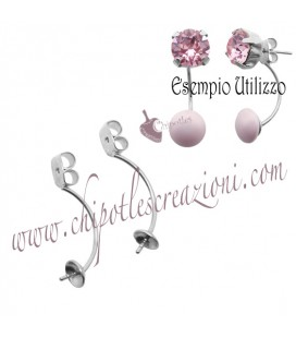 Farfalline per Orecchino a Perno con Sede per Perla Ottone Colore Acciaio (1 paio)
