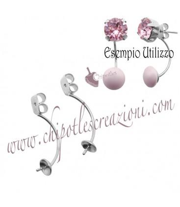 Farfalline per Orecchino a Perno con Sede per Perla Ottone Colore Acciaio