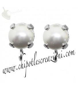 Base Orecchini a Perno con Perla Swarovski 8 mm Crystal White Pearl