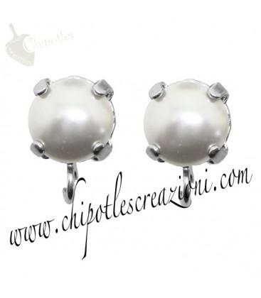 Base Orecchini a Perno con Perla Swarovski 8 mm White Pearl
