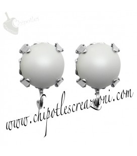 Base Orecchini a Perno con Perla SW 8 mm Crystal Pastel Grey