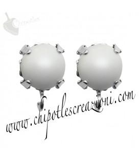 Base Orecchini a Perno con Perla Swarovski 8 mm Crystal Pastel Grey