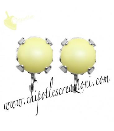 Base Orecchini a Perno con Perla Swarovski 8 mm Pastel Yellow Pearl