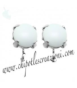 Base Orecchini a Perno con Perla Swarovski 8 mm Pastel Blue Pearl