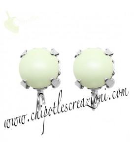 Base Orecchini a Perno con Perla SW 8 mm Pastel Green Pearl