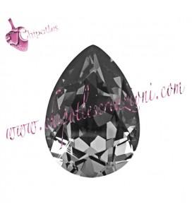 Goccia Swarovski® 4320 14x10 mm Crystal Silver Night