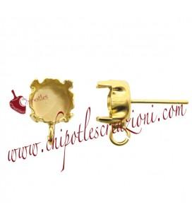 Perni per Orecchini con Castone 8 mm per Chaton SS39 colore Oro