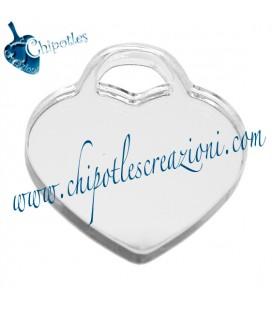 Ciondolo Cuore Senza Scritta 34x30 mm Plexiglass Argento Specchiato