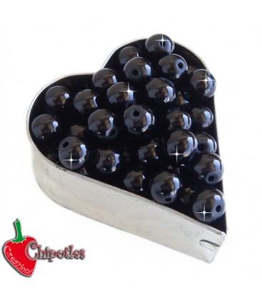 Perle 8 mm Vetro Cerato colore Nero (100 pezzi)