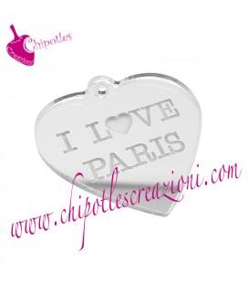 Ciondolo Cuore I love Paris 30x29 mm Plexiglass Specchiato Argento