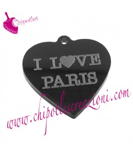 Ciondolo Cuore I love Paris 30x29 mm Plexiglass Nero