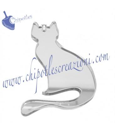 Charm Ciondolo Gatto 52x37 mm Plexiglass Specchiato Argento