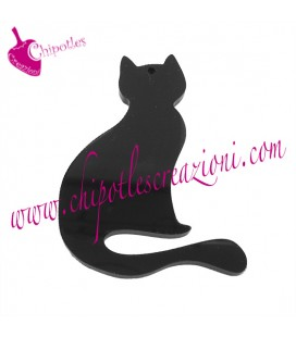 Charm Ciondolo Gatto 52x37 mm Plexiglass Nero